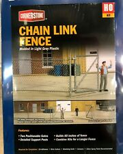 WALTHERS CORNERSTONE CHAIN LINK FENCE KIT  80 INCHES!  NEW + 1 FREE HO FIGURE!
