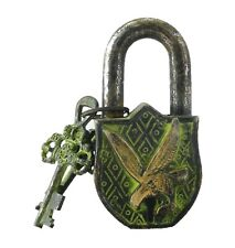 Flying Eagle Antique Vintage Style Handmade Solid Brass Padlock & Working Keys