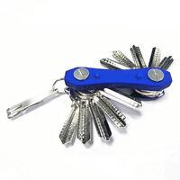 Compact Key Holder Aluminium Organiser Pocket Folding Ring Black 12 Key Keychain