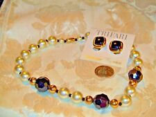 VTG BLACK BEAD FAUX PEARL/GOLD TONE SPACERS NECKLACE+TRIFARA CLIP EARRINGS NICE!