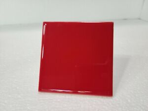 Red Ceramic Tile 4x4 in 4.25 inch Subway Vintage Mid Century Modern Sample Piece