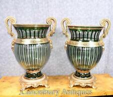 Pair French Empire Cut Glass Urns Vases Planters Ormolu