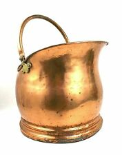Antique Victorian Copper & Brass Log Basket Coal Scuttle Bucket Dovetailed