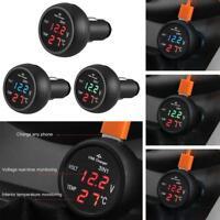 Universal 3 in 1 12/24V Car LED Digital Voltmeter Gauge+Thermometer+USB Charger