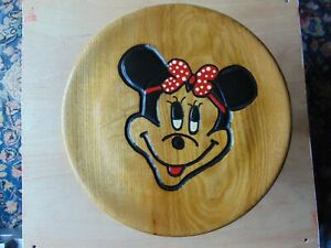 USED SOLID WOODEN PINE STOOL MINNIE MOUSE CARVED AND PAINTED DESIGN DECORATION