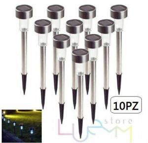 10 Lampade Paletti LED Luci da Giardino con Pannello a Energia Solare Segnapassi