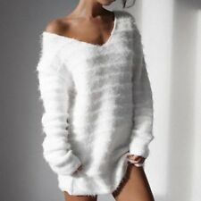 Women's Sexy V Neck Solid Fuzzy Long Sleeve Loose Long Knit Sweater Tunic Tops