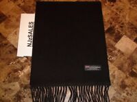 NEW 100% CASHMERE Scarf  PURE SOLID BLACK SCARF Women Scotland Warm Wool S1
