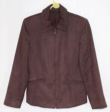 Brown Faux Suede Ladies Jacket - Size 8 Petite Coat - BHS - Chocolate Brown