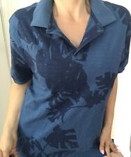 RODD AND GUNN MENS POLO TOP BLOUSE SPORTS FIT PRINTED FLORAL COTTON SZ L