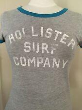 Womens Small•HOLLISTER•Gray Knit T Shirt W/ blue trim Hollister Surf Company