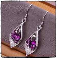 Ladies 925 Sterling Silver Leaf Tear Drop Dangle Gem Hook Earrings Gift