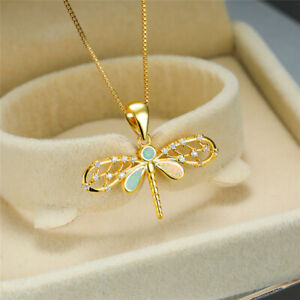 Fashion White simulated Opal Zircon Gold Dragonfly Pendant Necklace Jewelry