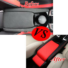 Center Armrest Box Surface Case Cover Trim Leather BlK&Red For Honda Civic 16-17