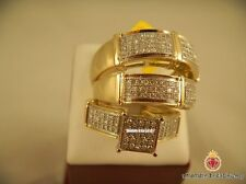 Yellow Gold Over Round Cut Diamond Engagement Wedding Trio For His & Hers