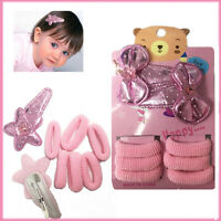 Kids Hair Clips Set Bobbles Sleepies Snap PINK Baby Girls Style Kit TIC TAC Gift