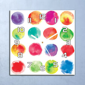 Glass Office Wall Clock 30x30 Silent Watercolour Colourful green and red large