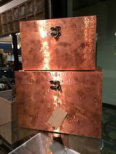TWO NEW LARGE HANDCRAFTED OXIDIZED COPPER SHEETING DECORATIVE STORAGE BOXES BOX