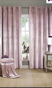 Studio Crushed Velvet Lined Eyelet Curtains 228 X 182cm Blush Pink
