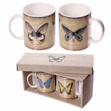 Juego de 2 Tazas De Porcelana China. - diseño de la mariposa