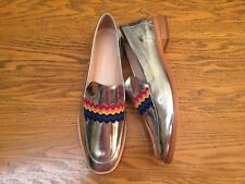 c99fa2d3ce79 LOEFFLER RANDALL GRETA METALLIC LEATHER RICKRACK TRIM LOAFER SHOES NEW SIZE  6