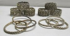 Set of 8 Braided Silver Napkin Rings Lot