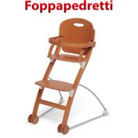Foppapedretti Seggiolone pappa in legno per bambini bimbi regolabile con ruote