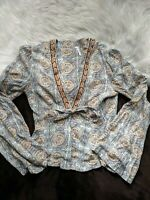 Free People Long Bell Sleeve Top Geometric Pattern Button Up Deep V-Neck Sz XS