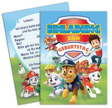 8 Stück Paw Patrol Einladungskarten zum Kindergeburtstag - inklusive Umschlägen