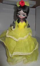 "Vintage Bradley Paper Mache Doll Big Eye Girl 11"" African American Yellow Gown"