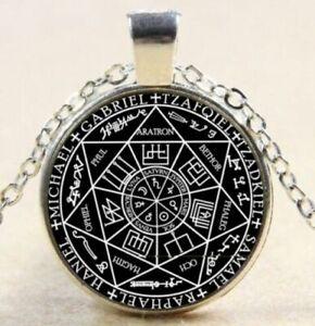 Seal Seven Archangels Black on Silver Frame Pendant Necklace USA SELLER Amulet