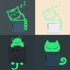 Cat Switch Wall Stickers Glow In The Dark Removable Art Home Room DIY DecorS OH