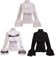 Retro Victorian Gothic Puff Sleeve Blouse Back Lace Up Detachable Collar Shirt