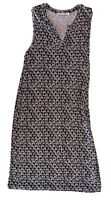 Sportscraft Size 12 Sleeveless Black White Patterned V Neck Shift Dress