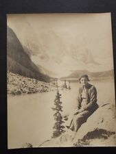 WOMAN SITTING ON A ROCK WITH LAKE & MOUNTAINS BEHIND HER Vintage  8 x 10 PHOTO