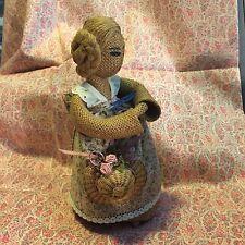 "Vintage Handmade Folk Art Burlap Primitive Doll 9.5"" tall with Cotton Dress"