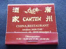 CANTON CHINA-RESTAURANT THERESIENSTR 49 MUNCHEN 089 522185 MATCHBOOK