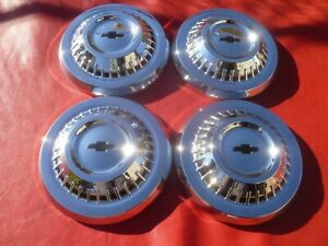 VINTAGE NOS 1964-65 CHEVY L79 CHEVELLE 300 MALIBU DOG DISH  HUBCAPS WHEEL COVERS