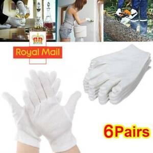 Mens Women 100% Cotton Gloves White Dermatological Overnight Moisturising Eczema
