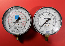 """Water & Air Pressure Gauges 4 in WIKA + W/1/2"""" fitting Lot of 2"""