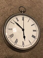 Pottery Barn LARGE Pocket Watch Clock Brushed Nickel