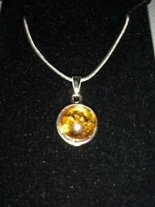 "Honey Amber Delicate Boxed Pendant on 16"" Silver Snake Chain Friendship Gift"