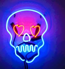 "New Haunted Skull Neon Light Sign Lamp Beer Pub Acrylic 14"""