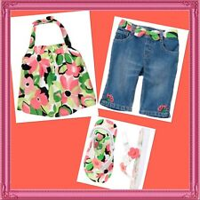 "NWT 12-18 GYMBOREE ""PALM BEACH PARADISE"" 3-pc JEANS, TOP & SANDALS set Outfit!"