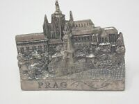 Vintage German Pewter Refrigerator Office Prague Prag Magnet