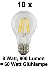 10 x 8 Watt FILAMENT / FADEN-LED Birne E27, Klarglas Warmweiß ~60 Watt Glühbirne