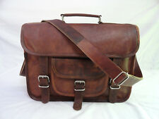 Brown Leather Satchel Messenger Bag 13 In Laptop Briefcase Crossbody Sling Bags