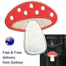 Toadstool iron on patch - fly agaric mushroom polka dot lucky embroidery patches