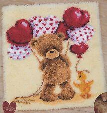 Knüpfpackung Knüpfen Teppich 55x60 cm Teddy Teddybär Ente Luftballon knopen Rya