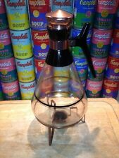 Large 10 cup retro 1950s Inland Glass Coffee Carafe with copper warming stand
